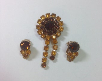 Vintage Brown and Gold Rhinestone Brooch with Matching Clip on Earrings, Topaz Colored Rhinestones, Previously 28 Dollars ON SALE