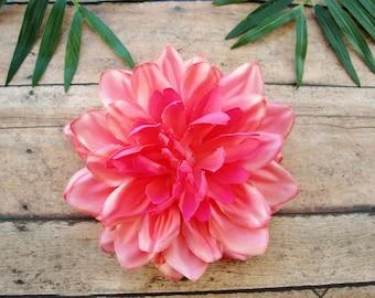 Pink Dahlia Hair Clip, Dahlia Hair Clip, Pink Hair Flower