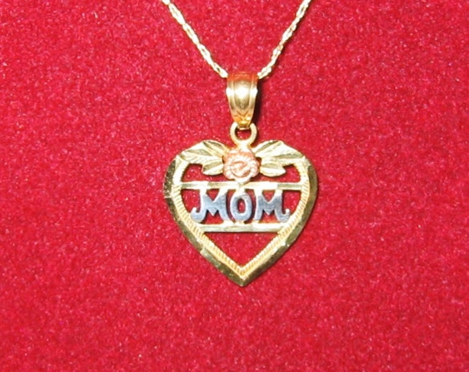 10K Solid Two Tone Gold, Heart w/MOM insert Pendent or Charm With Chain...CUTE !