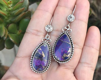 Mojave turquoise earrings, Dangle  earrings, Sterling Silver Dangles, sterling silver earrings