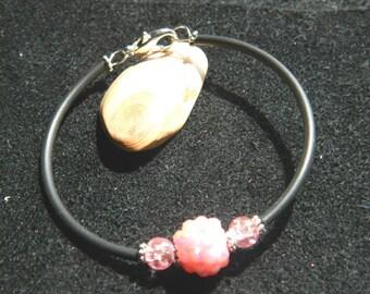 Black buna and rhinestone pearl bracelet pink valou