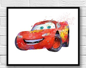 McQueen Watercolor Print, Disney Poster, Pixar Poster, Cars Art, McQueen Illustration, Movie Poster, Kids Room Decor, Nursery Art - 541