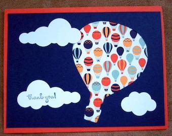 Handmade Thank you card; Thanks Card; Stampin' Up! Card; hot air balloon thank you card