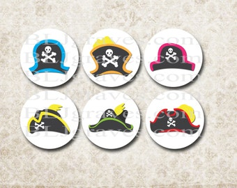Pirate Party Stickers - Pirate Birthday Party Favor Treat Bag Stickers SP094