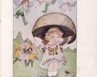 Antique Victorian Art Print-Book Plate-Lithograph-Fairies-Spring April Showers-Artist Penny Ross-1914