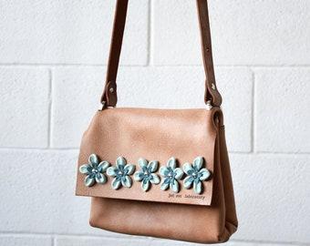 leather cross body flowers bag