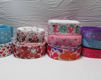 Grosgrain ribbon bundle 10 yards of a variety of love and heart prints, Kit