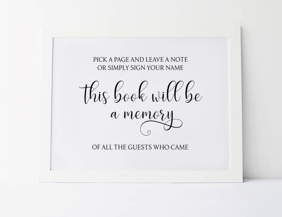 Pick A Page And Leave A Note Wedding Guestbook Sign Guest