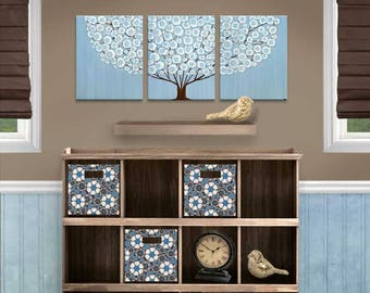 Paintings on Canvas Wall Art for Boy Nursery, Original Painting on Canvas Triptych - Blue and Brown Tree - 35x14