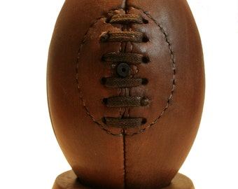Rugby Ball mini / genuine leather vintage rugby ball / leather rugby ball / vintage ball / vintage decor