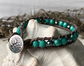 Boho Tree of Life Leather Bracelet in Aqua and Green