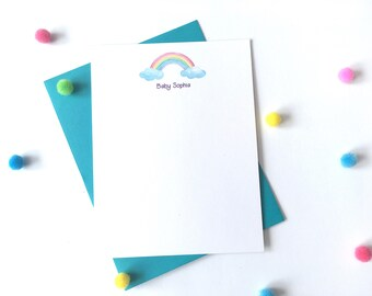 Watercolor Rainbow Note Cads - Personalized Rainbow Stationery - Rainbow Baby Thank You Cards - Somewhere Over the Rainbow