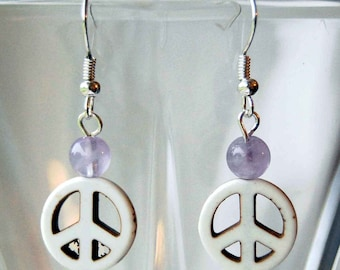 Peace Sign n Gemstone Earrings - Choice of Colors, Hippie Dangle Earrings, Groovy Retro Earrings, 1960s Style Earrings