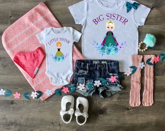 Big Sister Little Sister Outfit, Frozen Outfit, Princess Anna, Princess Elsa Set, Big Sister Shirt, Little Sister Bodysuit, Custom Outfit