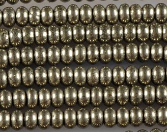 0286  3.6mm Pyrite rondelle loose gemstone beads 16""