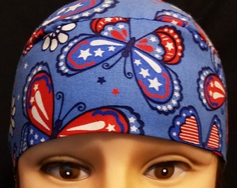 Handmade Red,White, Blue Butterflies Chemo Cap, Skull Cap, Surgical, Hat, Head Wrap, Alopecia, Hair Loss, Helmet Liner, Do Rag, Alopecia