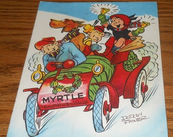 Vintage Handpainted Greeting Christmas Card~Dudley Fisher~Myrtle Family in Car