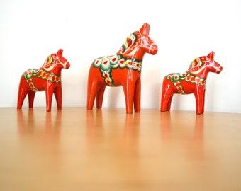 Scandinavian Vintage Dala Horse 3-Piece Set