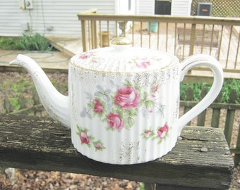 Lefton China Tea Pot, Pink Roses, Green Leaves, Ribbed Sides, Hand Painted, Gold Trim,  #2275, 5 1/4 Inches Tall, 5 3/4 Inches Long,