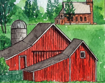 ACEO Original Watercolor Painting-Landscape Farm Scene Red Barn and Country Church/ATC
