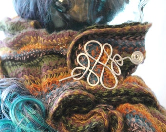 Celtic Knot Shawl Pin, Cape Fastener, Sweater Clasp, Hair Slide, Hair Pin, SP2