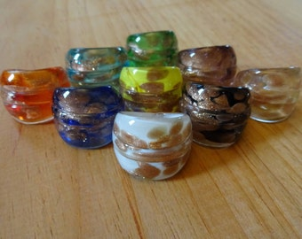 Glass Murano Copper Flake Ring, Multicolor Ring Jewelry, Lampwork Rings, Handmade Jewelry, Handcrafted Glass Ring, Glass Ring with Copper