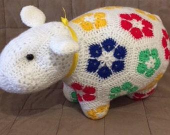 Handmade African Flower Patchwork Sheep