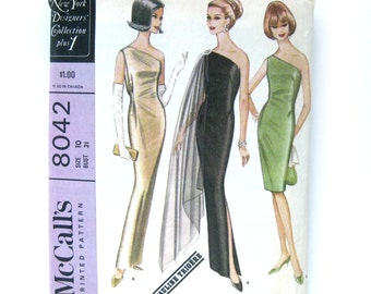 1960s Vintage Sewing Pattern - Pauline Trigere / Bare Shoulder Sheath Dress / Evening Gown / McCalls 8042 / Size 12