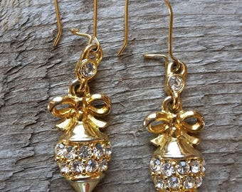 Vintage Christmas Ornament Earrings-Gold Rhinestone Christmas Earring-Gerry's Vintage Christmas Earring-Gold Christmas Earring-Free Shipping