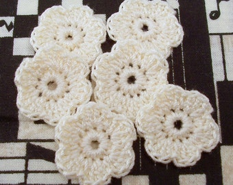 Crochet Cream Flower Appliques