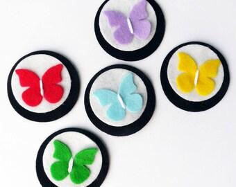 Aplique, Aplique mariposas, apliques fieltro, adornos, materiales fieltro, broche fieltro, material para diademas, accesorio cabello