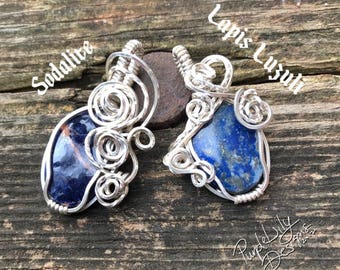 Sodalite or Lapis Luzuli pendant in Sterling Silver filled wire, ThePurpleLilyDesigns wire wrapped jewelry