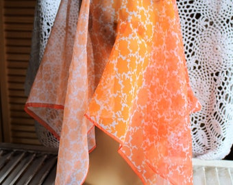 Vintage! Orange/sheer/floral/square/scarf. Hair wrap. 1970s. Groovy, and pretty! Boho/hippie.