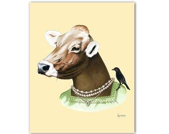 Cow art print by Ryan Berkley 5x7