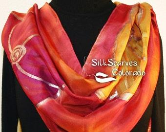 Silk Scarf Handpainted. Burgundy, Terracotta Hand Painted Shawl. Handmade Silk Wrap BURGUNDY GARDEN.  Extra Large 22x72. Birthday Gift