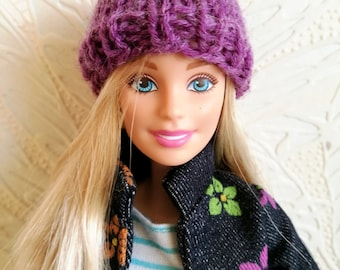 Purple, lilac Barbie hat, knitted Barbie doll beanie, Barbie clothing
