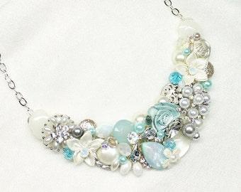 Aqua Bib Necklace- Sea Blue Necklace- Aqua Statement Bib- Aqua Wedding Necklace- Seaglass Bridal Necklace- Aqua Bridal Bib-Statement Neckace