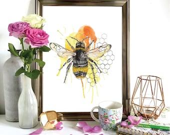 Bumblebee Honeycomb Print, Illustration, Wall Art, Drawing A4, A5