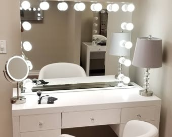 Vanity mirror etsy xxl bluetooth hollywod forever lighted vanity mirror w sliding dimmer dual outlets mozeypictures Image collections