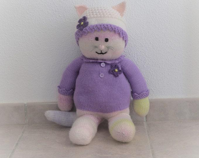 Girl Cat knitting pattern, Stuffed animal toy, Handmade soft toy, hanHandmade cat, Knitted stuffed cat, Knitting pattern for baby toy, Pdf