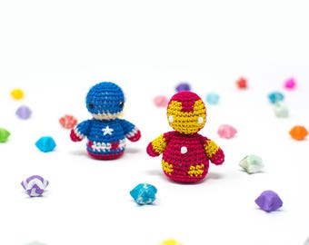 Civil War / Marvel / Iron Man / Captain America / Crochet / Amigurumi / Plushie / Miniature