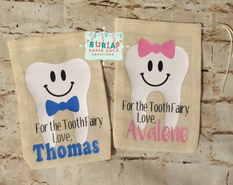 Personalized Tooth Fairy Bag - Baby Teeth - Lost Tooth - Gift for Girl - Gift for Boy - Multiple Fonts Colors Available