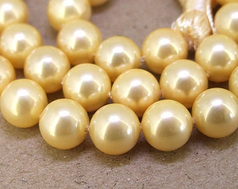 10mm High Luster Gold  South Seashell Pearl beads Round Shell Pearl 20beads