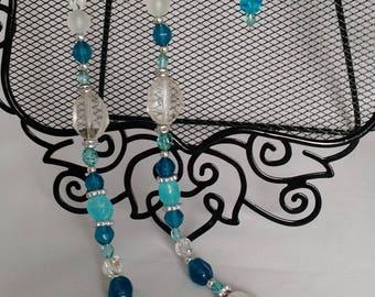 2pc Multi Teal Blue Beaded Set