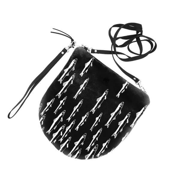 Crossbody bag black and white, fishes graphics, evening pochette, Round Purse, Unique Shoulder Bag, Anchoy Bag