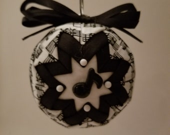 Black and white folded fabric handmade ornament with music note decoration