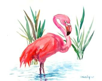 Flamingo artwork one of  a kind painting pink flamingos, original watercolor painting, flamingo wall art, flamingo decor