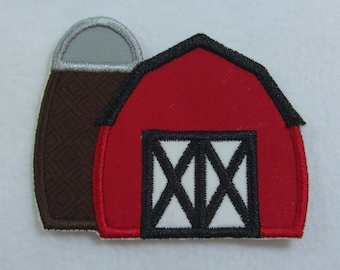 Red Barn Applique Fabric Embroidered Iron On Applique Patch Ready to Ship