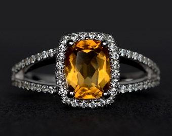 citrine rings cushion cut citrine engagement ring anniversary ring yellow crystal ring yellow quartz gemstone ring