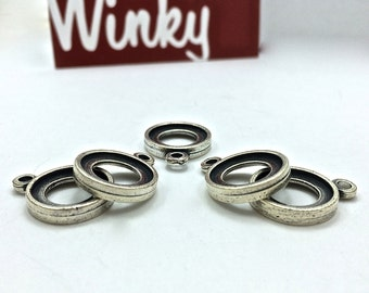 6pc Double Sided Pendants // 13mm // Small // Bezel // Heavy Antique // Made In The USA by Winky&Dutch